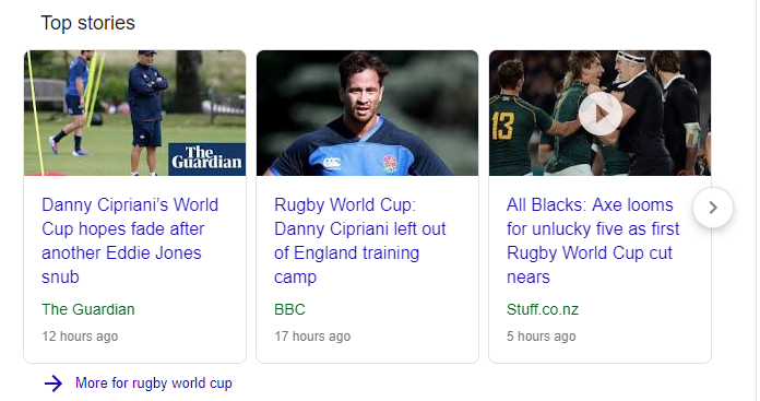 Search Query Related Strories - Rugby World Cup