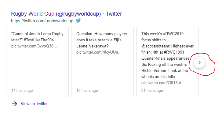Trending Tweets by People on Related Search Query - Rugby World Cup