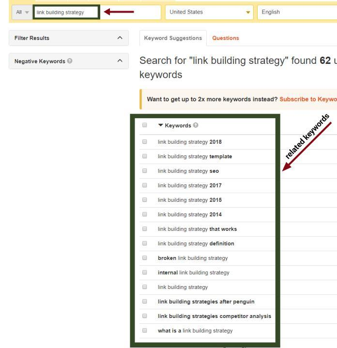 Keyword Tool for Link building strategy