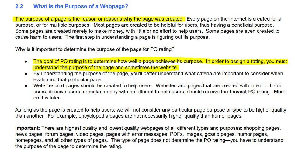 Purpose of Webpage - PQ Rating