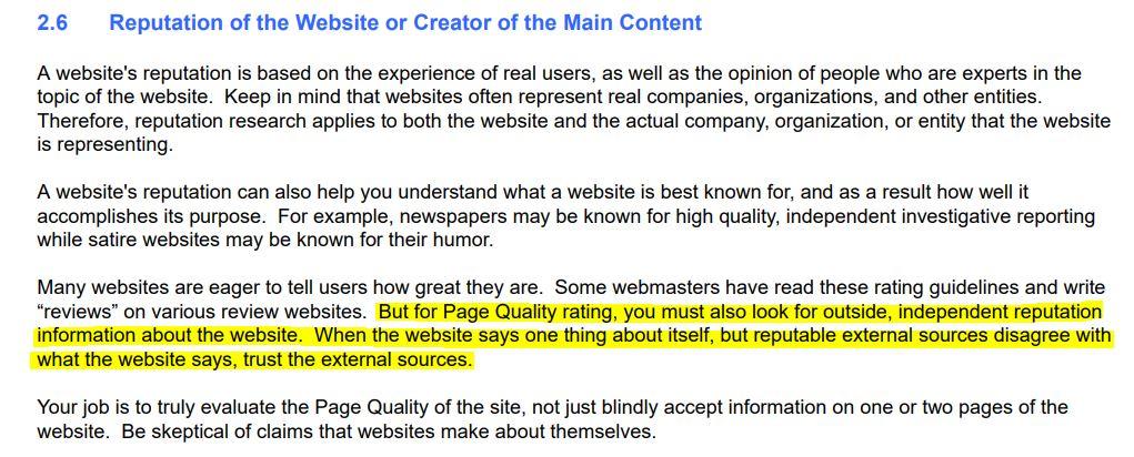 Reputation of websites
