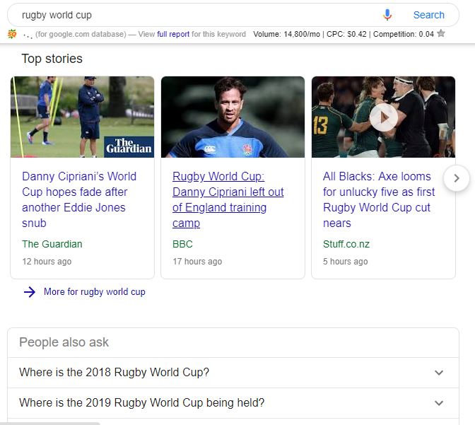 Google Card Search Result - Rugby World Cup