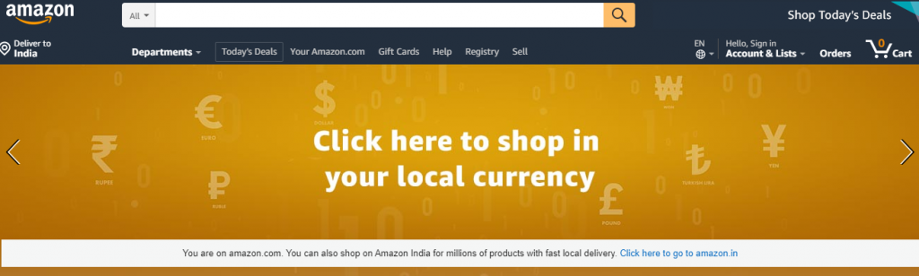 Shop in your local currency - Amazon
