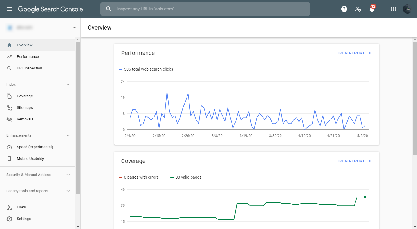 Google Search Console metrics and menu options