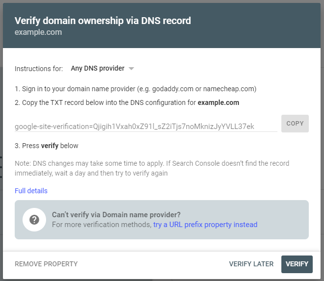 Verify Domain Ownership via DNS
