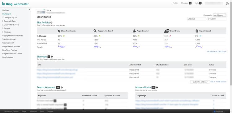 Menu option in Bing Webmaster