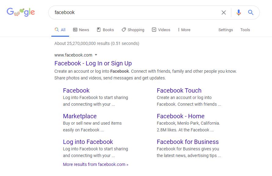 Facebook Google Search