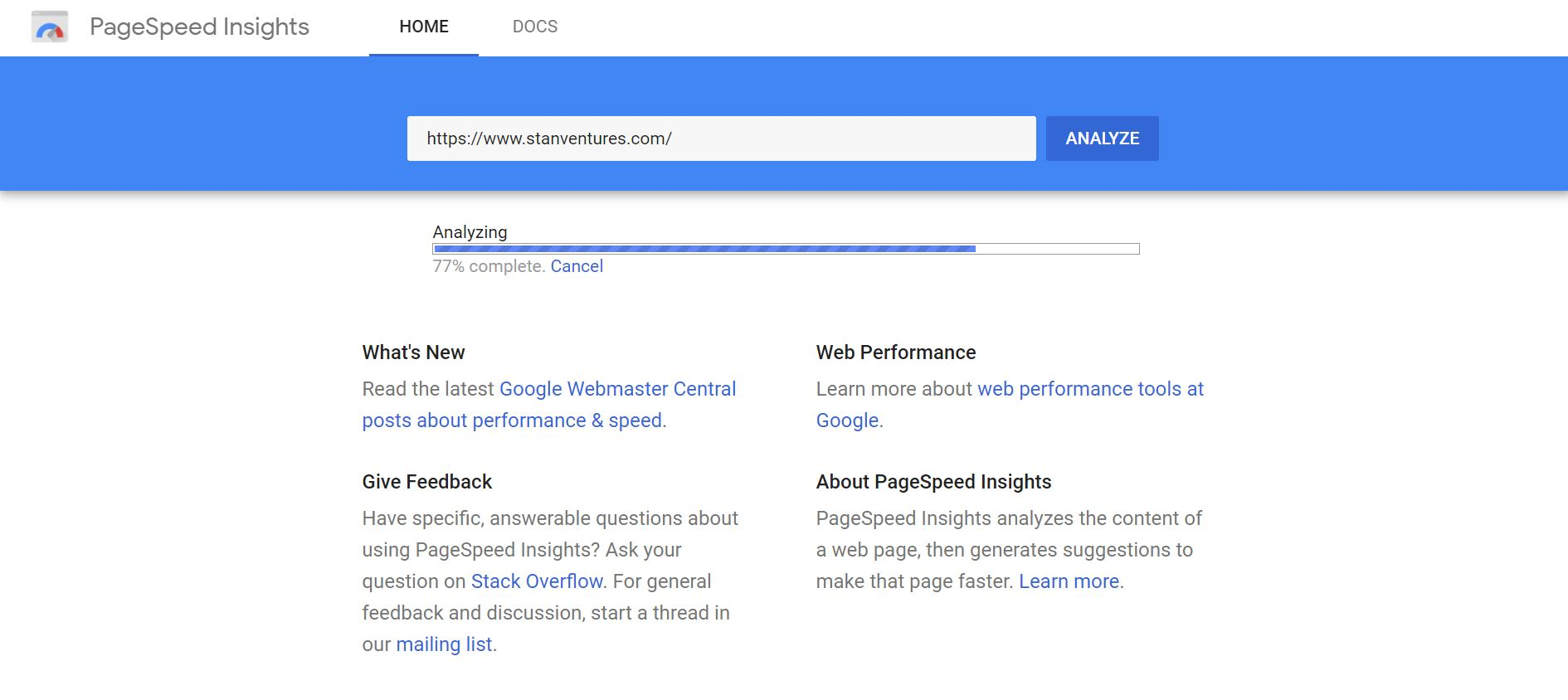 page speed insights analysis