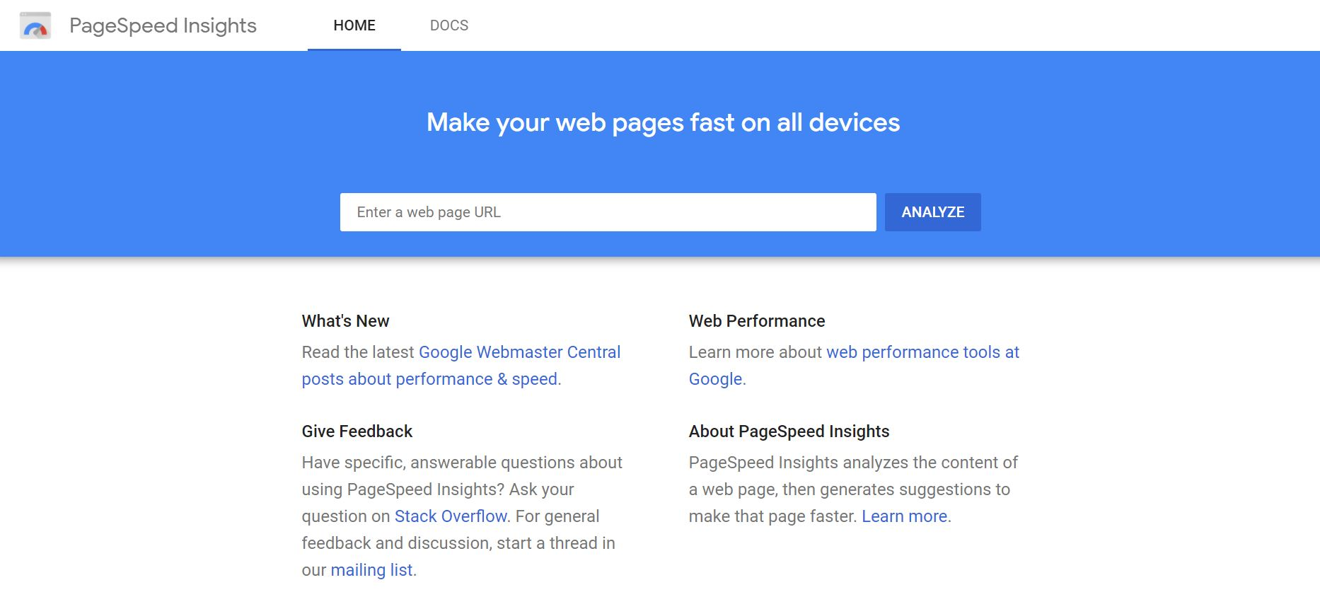 Page Speed Insights tool