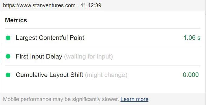 page experience metrics