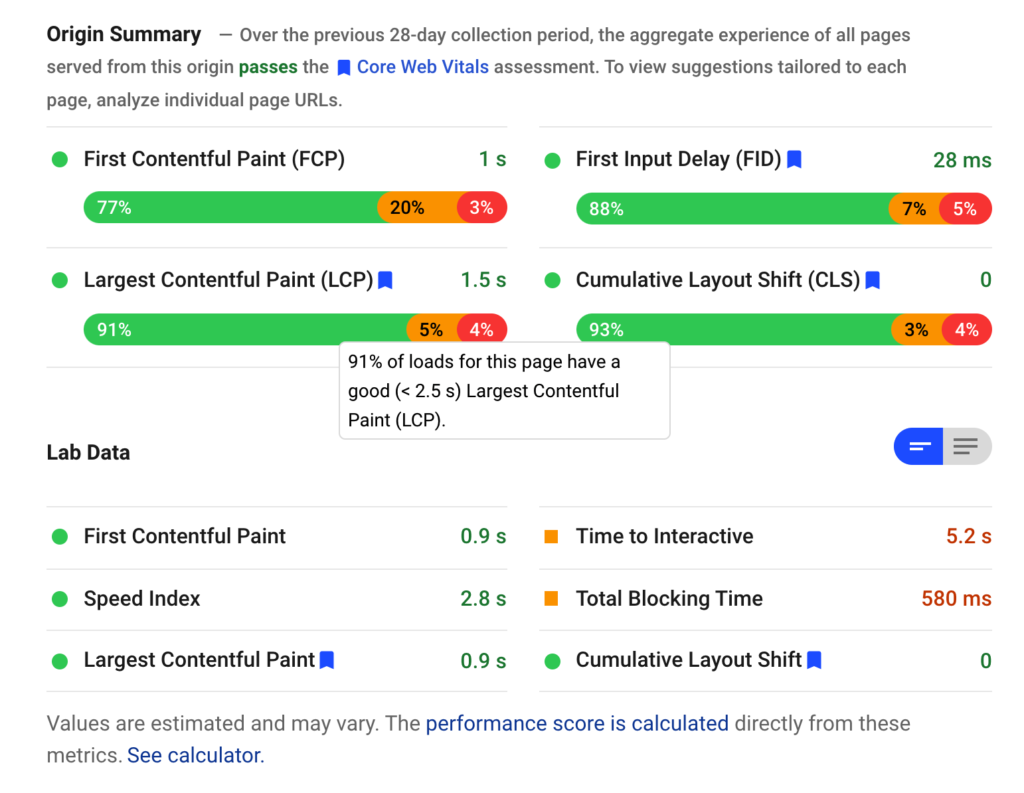 page experience score
