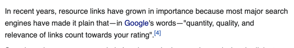 Google on Quality of Links